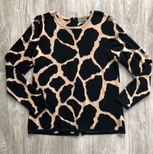 Neiman Marcus animal giraffe leopard print sweater